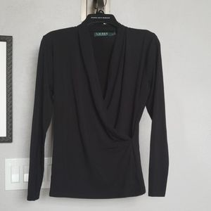 Ralph Lauren cross front shirt black